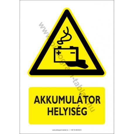 Akkumulátor helyiség figyelmeztető piktogram tábla