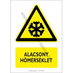 Alacsony hőmérséklet figyelmeztető piktogram tábla