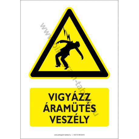 Áramütés veszélye figyelmeztető piktogram tábla