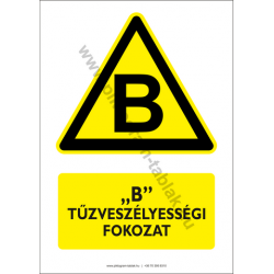 B tűzveszélyességi fokozat figyelmeztető piktogram tábla