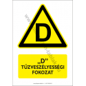 D tűzveszélyességi fokozat figyelmeztető piktogram tábla