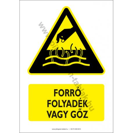 Forró folyadék vagy gőz figyelmeztető piktogram tábla