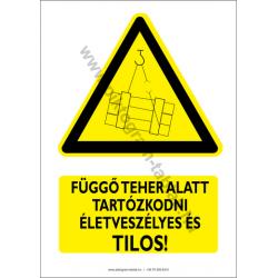 Függő teher alatt tartózkodni tilos figyelmeztető piktogram tábla