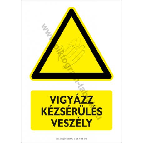 Kézsérülés veszély figyelmeztető piktogram tábla