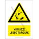 Leeső tárgyak figyelmeztető piktogram tábla