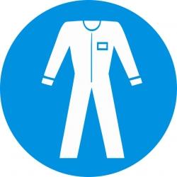 Védőruha használata kötelező munkavédelmi piktogram matrica