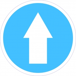 Kötelező haladási irány munkavédelmi piktogram matrica