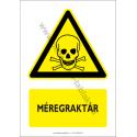 Méregraktár figyelmeztető piktogram tábla