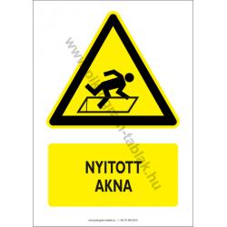 Nyitott akna figyelmeztető piktogram tábla
