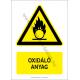 Oxidáló anyag figyelmeztető piktogram tábla