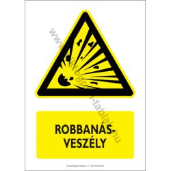 Robbanásveszély figyelmeztető piktogram tábla