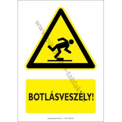Botlásveszély figyelmeztető piktogram tábla