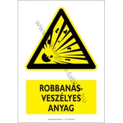 Robbanásveszélyes anyag figyelmeztető piktogram tábla