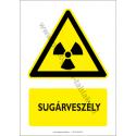 Sugárveszély figyelmeztető piktogram tábla