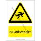 Zuhanásveszély figyelmeztető piktogram tábla