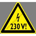 230 V figyelmeztető piktogram matrica