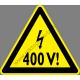 400 V figyelmeztető piktogram matrica