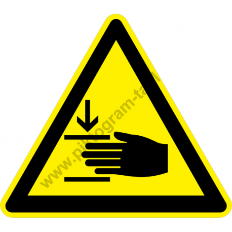 A kéz sérülésének veszélye figyelmeztető piktogram matrica