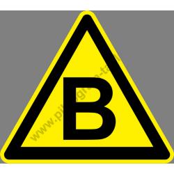 B tűzveszélyességi fokozat figyelmeztető piktogram matrica