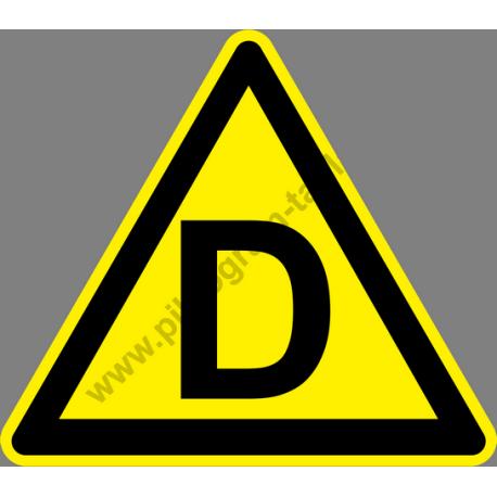 D tűzveszélyességi fokozat figyelmeztető piktogram matrica