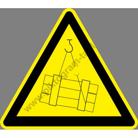 Függő teher figyelmeztető piktogram matrica