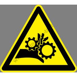 Összeforgó hengerpár figyelmeztető piktogram matrica