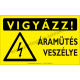 Vigyázz! Áramütés veszély figyelmeztető piktogram tábla