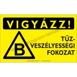 Vigyázz! B tűzveszélyességi fokozat figyelmeztető piktogram tábla