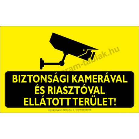 Biztonsági kamerával és risztóval ellátott terület figyelmeztető piktogram tábla