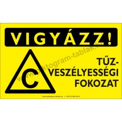 Vigyázz! C tűzveszélyességi fokozat figyelmeztető piktogram tábla