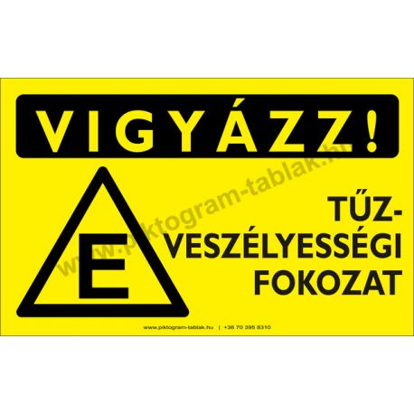 Vigyázz! E tűzveszélyességi fokozat figyelmeztető piktogram tábla
