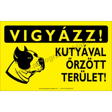 Vigyázz! Kutyával őrzött terület figyelmeztető piktogram tábla
