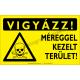 Vigyázz! Méreggel kezelt terület figyelmeztető piktogram tábla