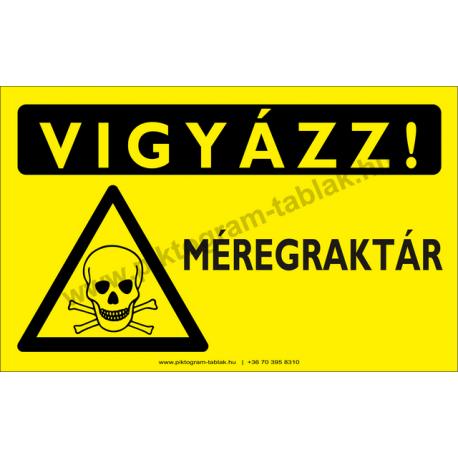 Vigyázz! Méregraktár figyelmeztető piktogram tábla