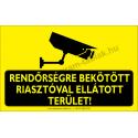 Rendőrségre bekötött riasztóval ellátott terület figyelmeztető piktogram tábla