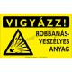 Vigyázz! Robbanásveszélyes anyag figyelmeztető piktogram tábla