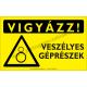 Vigyázz! Veszélyes géprészek figyelmeztető piktogram tábla