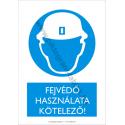 Fejvédő használata kötelező munkavédelmi piktogram tábla