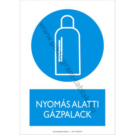 Nyomás alatti gázpalack rendelkező piktogram tábla