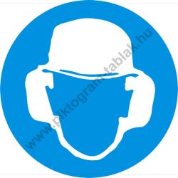 Fejvédő és hallásvédő használata kötelező munkavédelmi piktogram matrica
