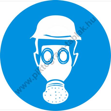 Fejvédő és légzésvédő használata kötelező rendelkező piktogram matrica