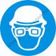 Fejvédő és védőszemüveg használata kötelező rendelkező piktogram matrica