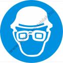 Fejvédő és védőszemüveg használata kötelező munkavédelmi piktogram matrica