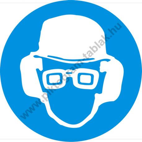 Fejvédő, hallásvédő és védőszemüveg használata kötelező rendelkező piktogram matrica
