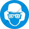 Fejvédő, hallásvédő és védőszemüveg használata kötelező munkavédelmi piktogram matrica