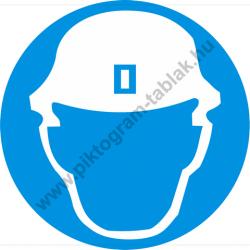 Fejvédő használata kötelező munkavédelmi piktogram matrica