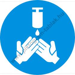 Fertőtlenítő kézmosás kötelező munkavédelmi piktogram matrica