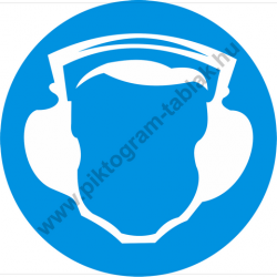 Hallásvédő használata kötelező munkavédelmi piktogram matrica