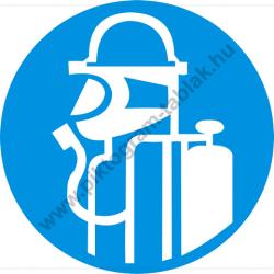 Légzésvédő használata kötelező munkavédelmi piktogram matrica