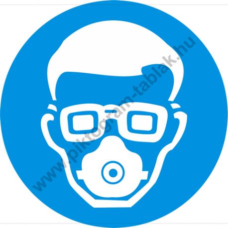 Porvédő maszk és védőszemüveg használata kötelező rendelkező piktogram matrica